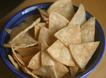 Homemade Tortilla Chips Made With Corn Tortillas